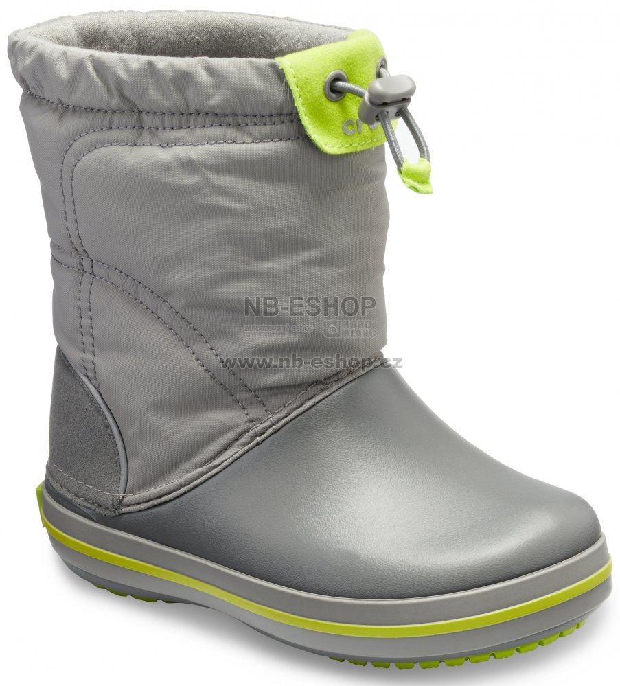000c44cd676 Dětské zimní boty CROCS KIDS CROCBAND LODGE POITN BOOT 203509-08G  CHARCOAL OCEAN